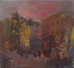 Юлия Зарецкая (Улица вечером1998, 39х44, х.м.).jpg